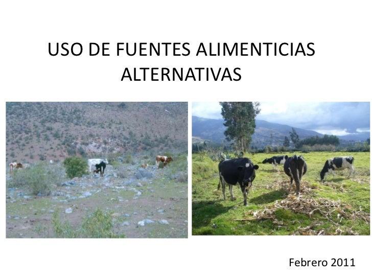 USO DE FUENTES ALIMENTICIAS ALTERNATIVAS<br />Febrero 2011<br />