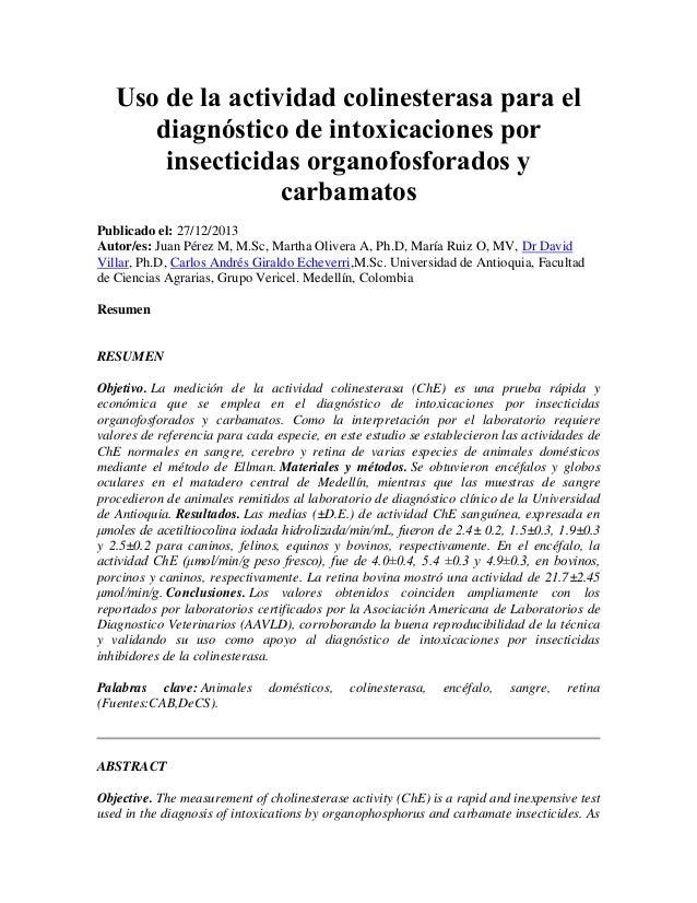 Uso de la actividad colinesterasa para el diagnóstico de intoxicaciones por insecticidas organofosforados y carbamatos Pub...