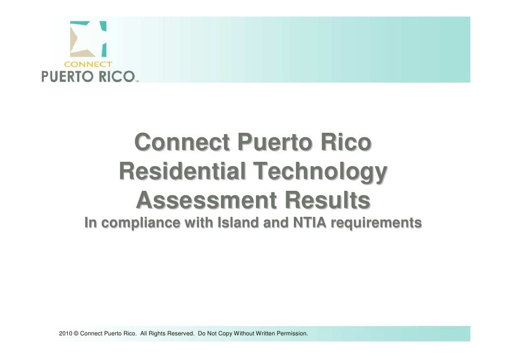 Connect Puerto Rico                    Residential Technology                     Assessment Results        In compliance ...