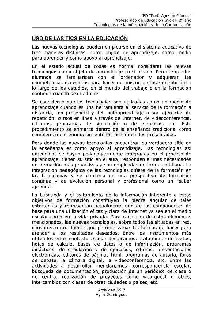 """IFD """"Prof. Agustín Gómez""""                                     Profesorado de Educación Inicial- 2° año                    ..."""