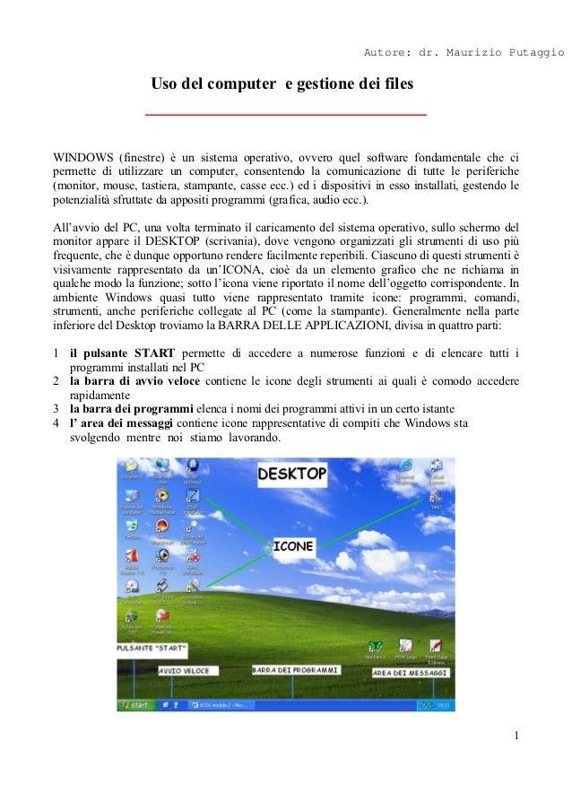 Autore: dr. Maurizio Putaggio                    Uso del computer e gestione dei filesWINDOWS (finestre) è un sistema oper...
