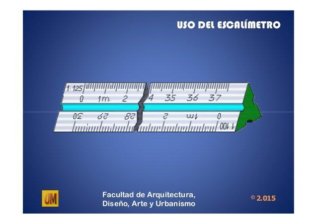 USO DEL ESCALÍMETRO Facultad de Arquitectura, Diseño, Arte y Urbanismo © 2.015