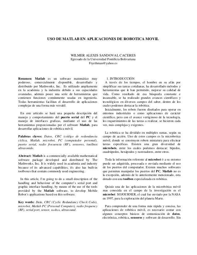 USO DE MATLAB EN APLICACIONES DE ROBOTICA MOVIL                                        WILMER ALEXIS SANDOVAL CACERES     ...