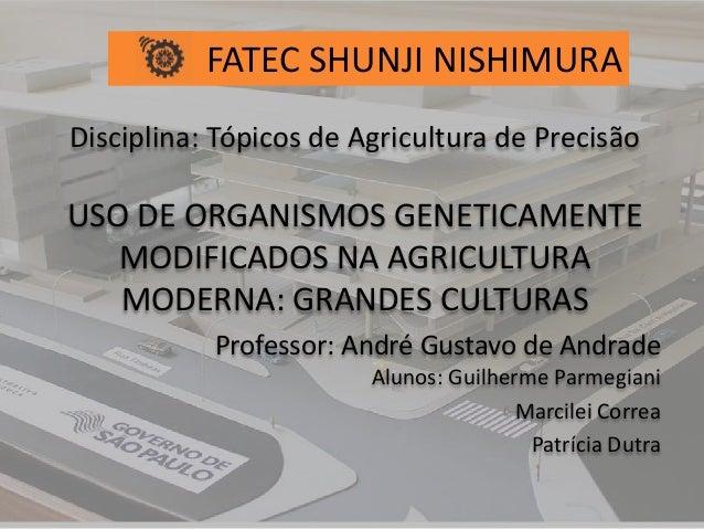 Disciplina: Tópicos de Agricultura de Precisão USO DE ORGANISMOS GENETICAMENTE MODIFICADOS NA AGRICULTURA MODERNA: GRANDES...