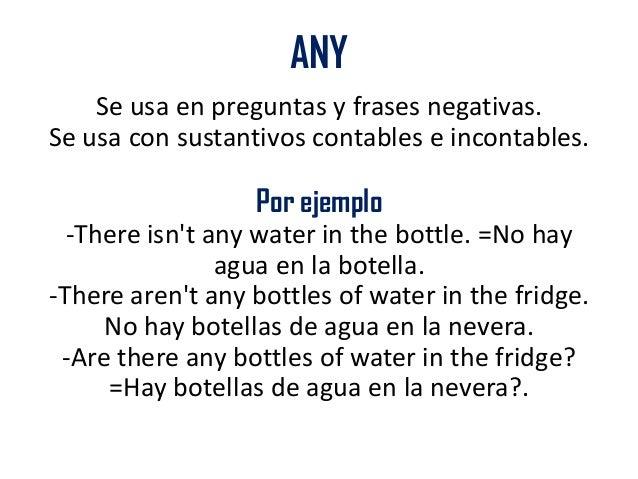 Uso De Some Y Any Sustantivos Contables Y No Contables