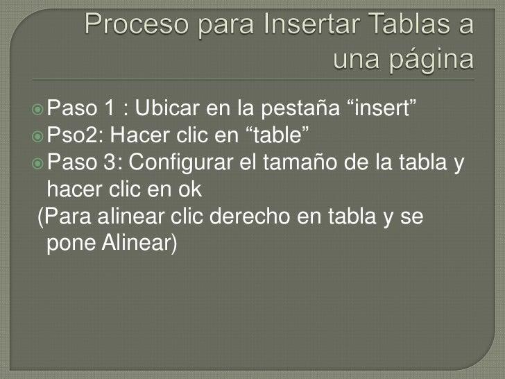 """ Paso 1 : Ubicar en la pestaña """"insert"""" Pso2: Hacer clic en """"table"""" Paso 3: Configurar el tamaño de la tabla y  hacer c..."""