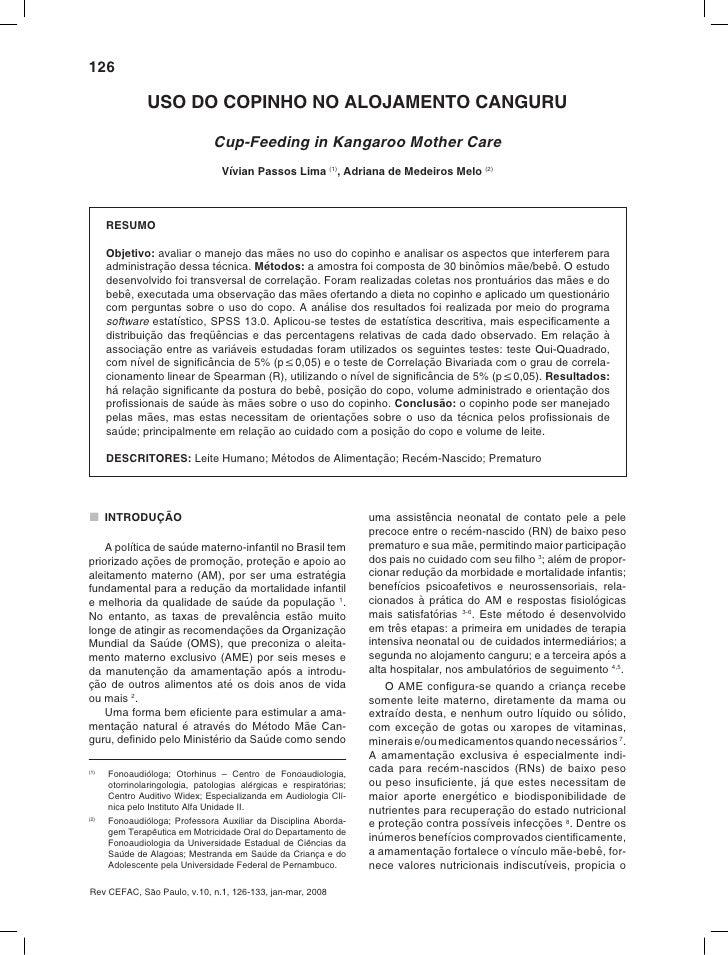 126                 USO DO COPINHO NO ALOJAMENTO CANGURU                                  Cup-Feeding in Kangaroo Mother C...