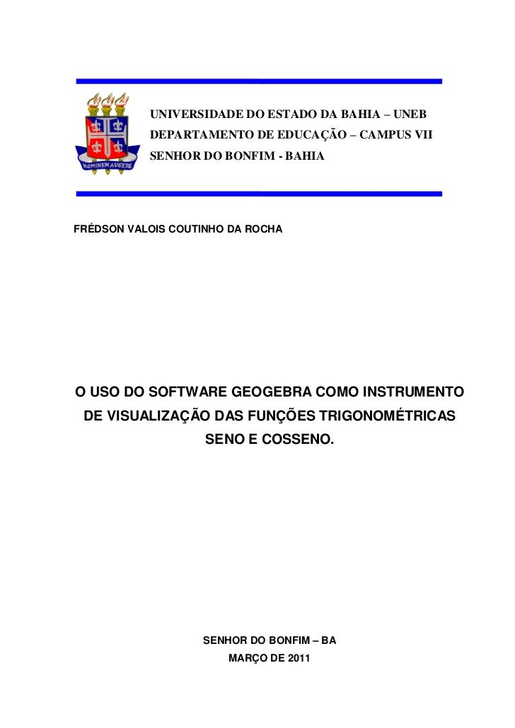 UNIVERSIDADE DO ESTADO DA BAHIA – UNEB           DEPARTAMENTO DE EDUCAÇÃO – CAMPUS VII           SENHOR DO BONFIM - BAHIAF...