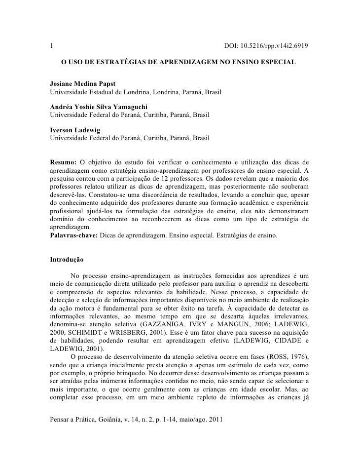 1                                                                 DOI: 10.5216/rpp.v14i2.6919    O USO DE ESTRATÉGIAS DE A...