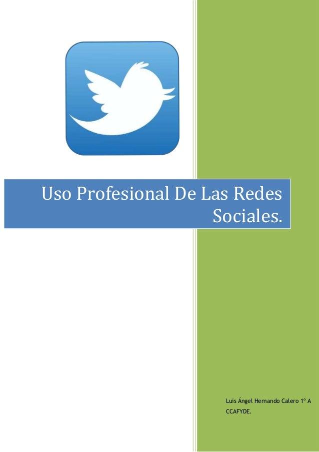 Uso Profesional De Las Redes Sociales.  Luis Ángel Hernando Calero 1º A CCAFYDE.