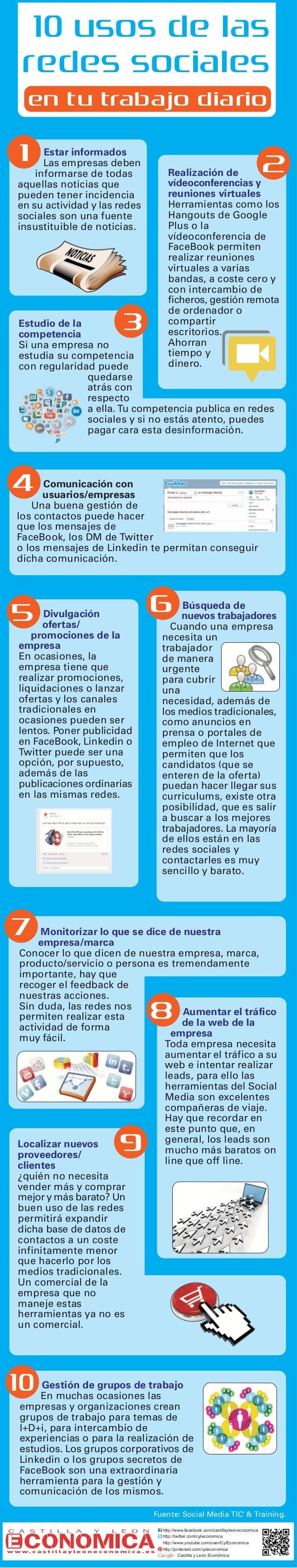 10 usos de las redes sociales en tu trabajo diario  1  2  Estar informados Las empresas deben informarse de todas aquellas...