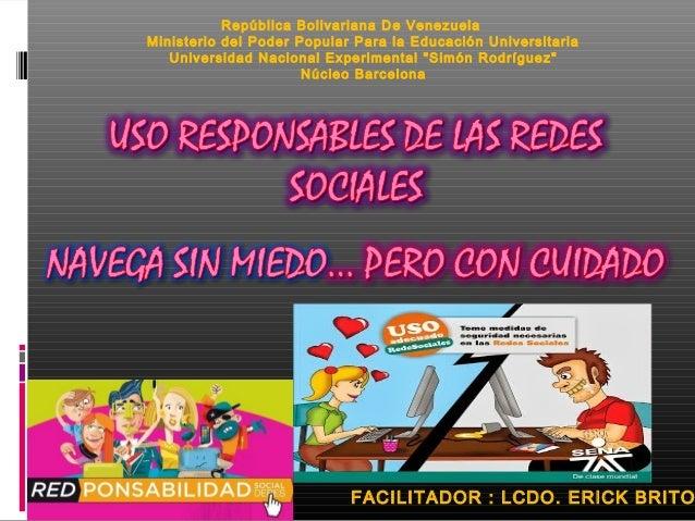 República Bolivariana De Venezuela  Ministerio del Poder Popular Para la Educación Universitaria  Universidad Nacional Exp...