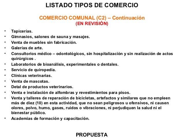 Usos comerciales y complementarios for Clasificacion de alfombras