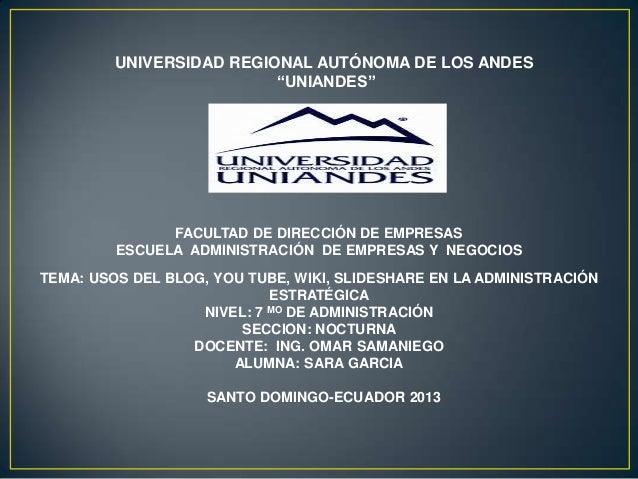 """UNIVERSIDAD REGIONAL AUTÓNOMA DE LOS ANDES """"UNIANDES"""" FACULTAD DE DIRECCIÓN DE EMPRESAS ESCUELA ADMINISTRACIÓN DE EMPRESAS..."""