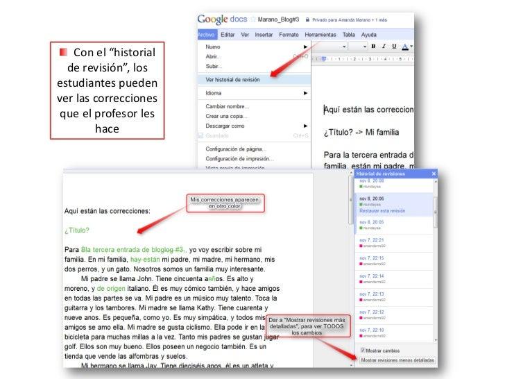 """Con el """"historial de revisión"""", los estudiantes pueden ver las correcciones que el profesor les hace<br />"""