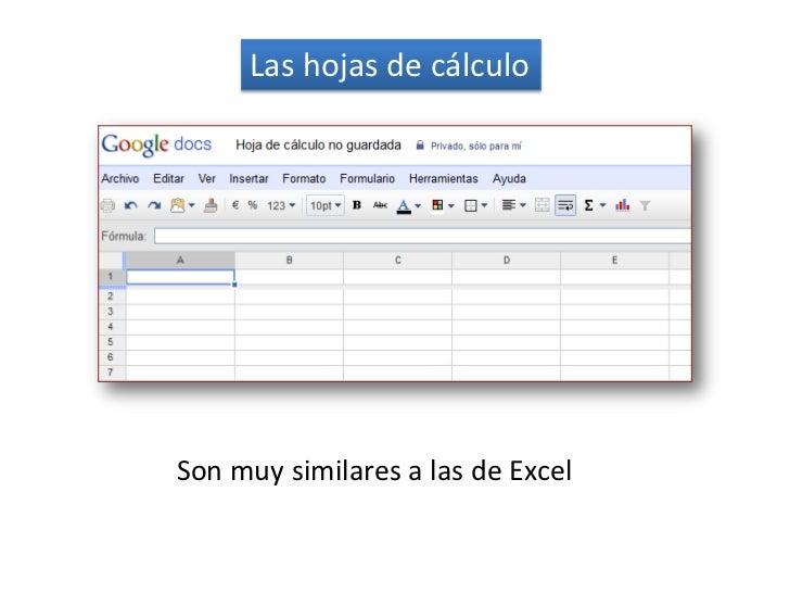 Las hojas de cálculo<br />          Son muysimilares a las de Excel<br />