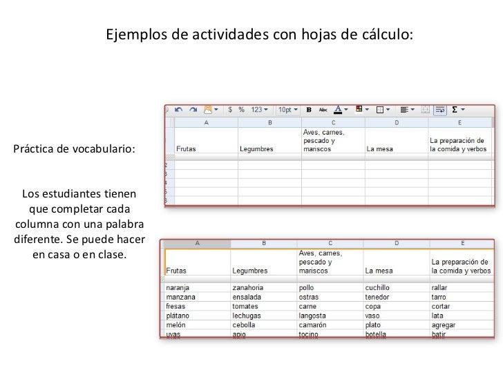 Ejemplos de actividades con hojas de cálculo: <br />Práctica de vocabulario:<br />Los estudiantes tienen que completar cad...
