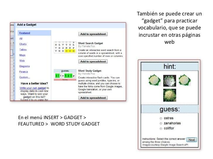 """También se puede crear un """"gadget"""" para practicar vocabulario, que se puede incrustar en otras páginas web<br />En el menú..."""