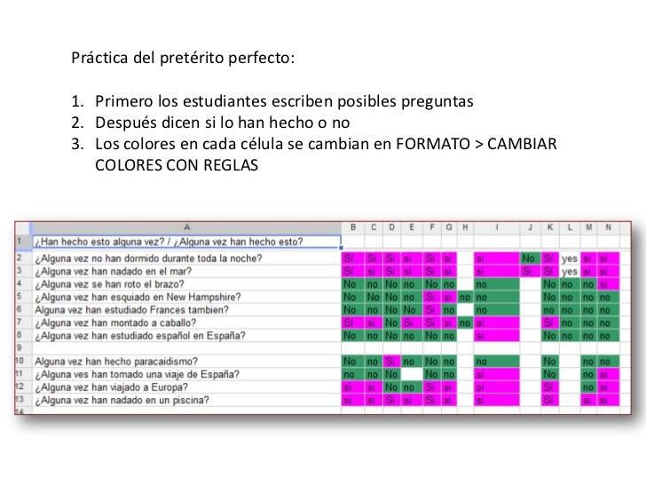 Práctica del pretérito perfecto:<br />Primero los estudiantesescribenposiblespreguntas<br />Despuésdicensi lo hanhecho o n...