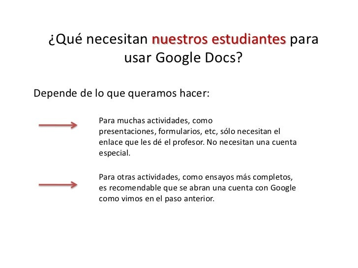 ¿Qué necesitan nuestros estudiantes para usar Google Docs?<br />Depende de lo que queramos hacer:<br />Para muchas activid...