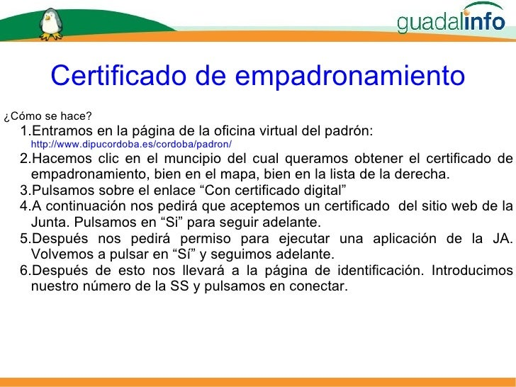 Usos del certificado digital for Oficina de empadronamiento