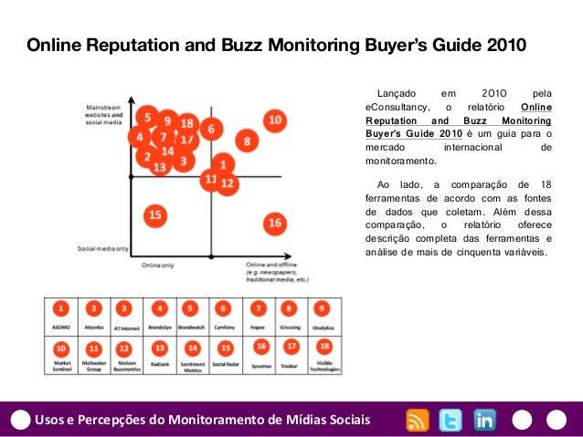Usos e Percepções do Monitoramento de Mídias Sociais Online Reputation and Buzz Monitoring Buyer's Guide 2010 Lançado em 2...