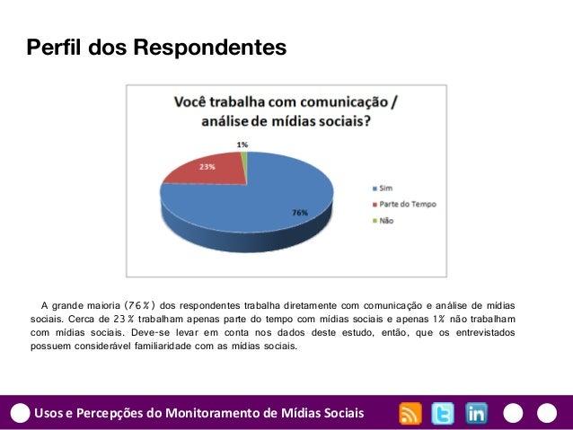 Usos e Percepções do Monitoramento de Mídias Sociais Perfil dos Respondentes A grande maioria (76%) dos respondentes traba...
