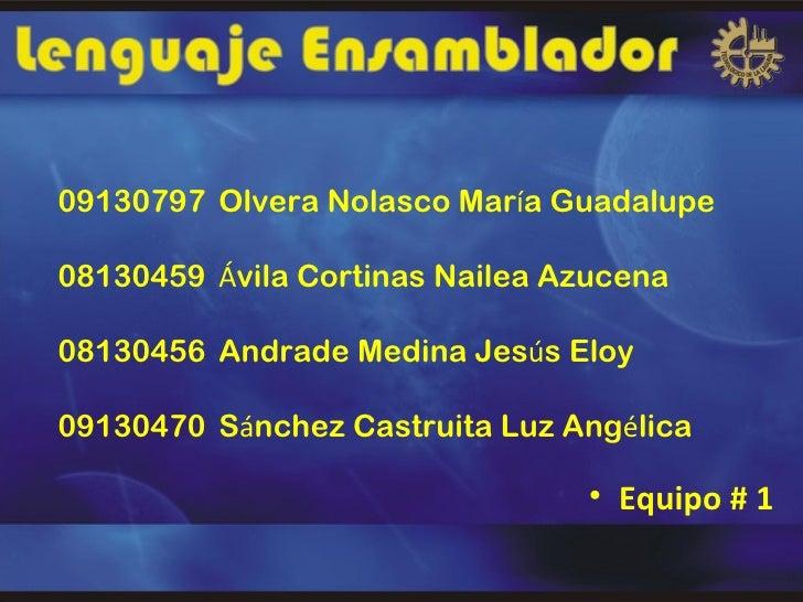 09130797 Olvera Nolasco María Guadalupe08130459 Ávila Cortinas Nailea Azucena08130456 Andrade Medina Jesús Eloy09130470 Sá...