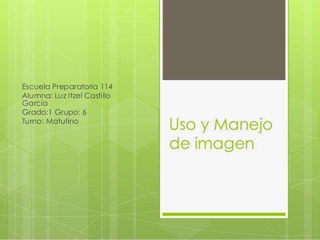 Uso y Manejo de imagen Escuela Preparatoria 114 Alumna: Luz Itzel Castillo García Grado:1 Grupo: 6 Turno: Matutino
