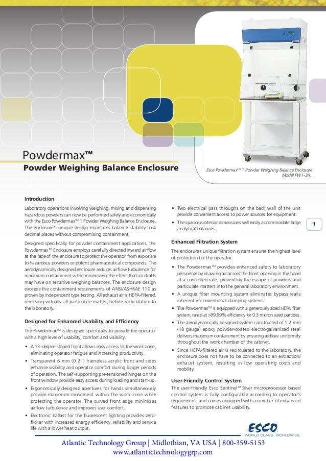 Esco Powdermax 1 Powder Weighing Balance Enclosure Model PW1-3A_ 1 Powdermax Esco PowdermaxTM 1 Powder Weighing Balance En...