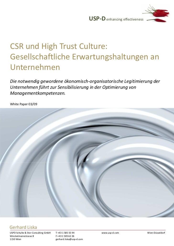 USP-D enhancing effectivenessCSR und High Trust Culture:Gesellschaftliche Erwartungshaltungen anUnternehmenDie notwendig g...