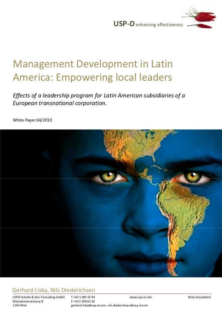 USP-D enhancing effectivenessManagement Development in LatinAmerica: Empowering local leadersEffects of a leadership progr...