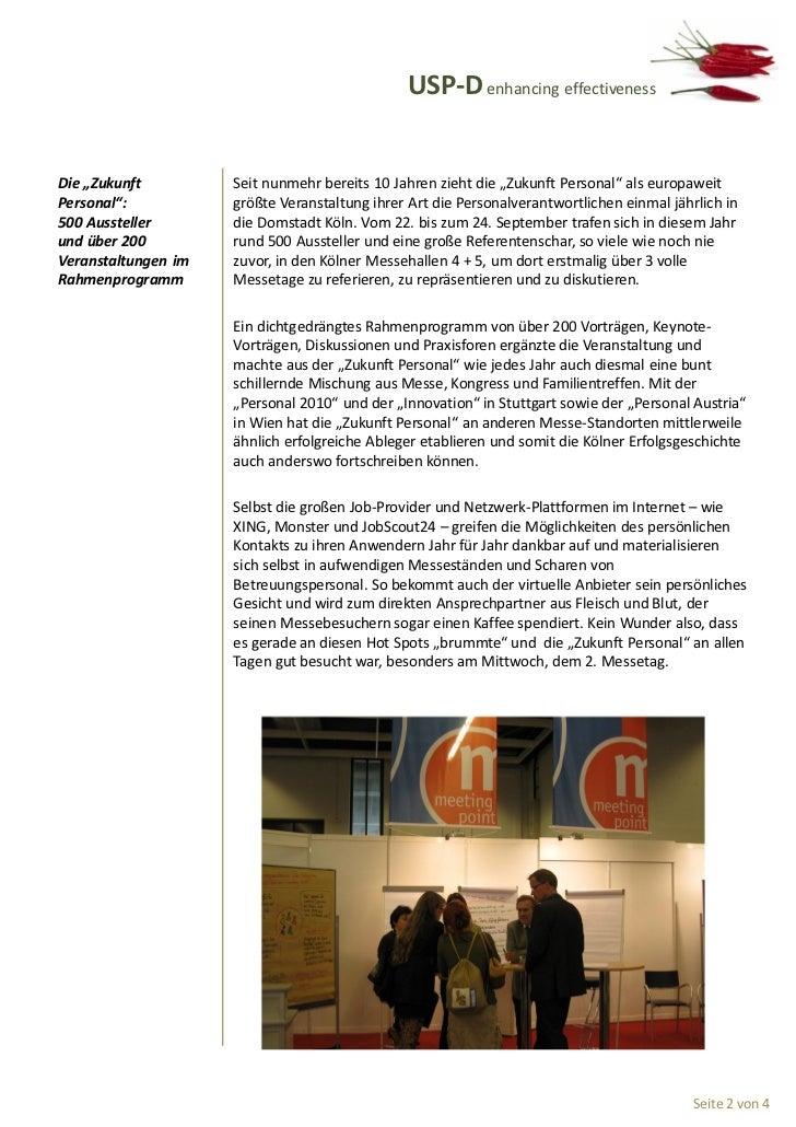 """USP-D enhancing effectivenessDie """"Zukunft         Seit nunmehr bereits 10 Jahren zieht die """"Zukunft Personal"""" als europawe..."""
