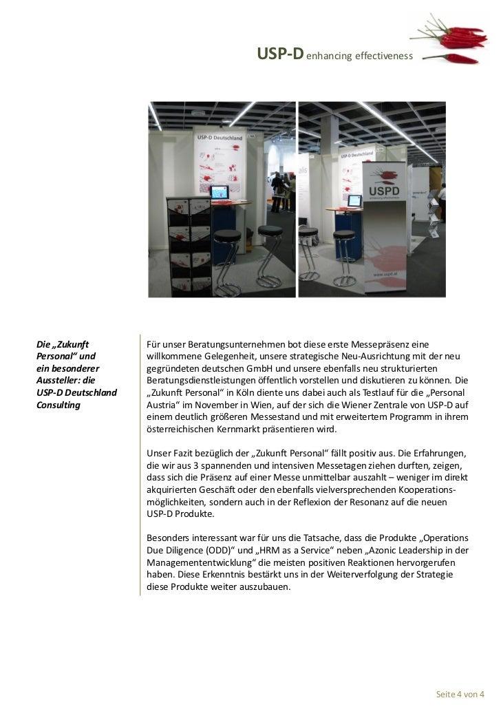 """USP-D enhancing effectivenessDie """"Zukunft        Für unser Beratungsunternehmen bot diese erste Messepräsenz einePersonal""""..."""