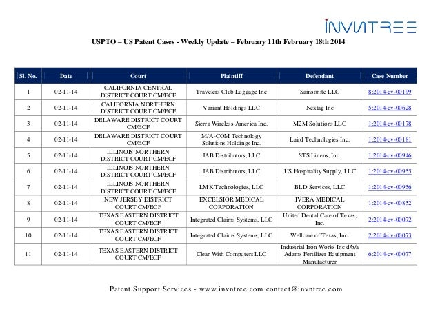 USPTO – US Patent Cases - Weekly Update – February 11th February 18th 2014  Sl. No.  Date  1  02-11-14  2  02-11-14  3  02...