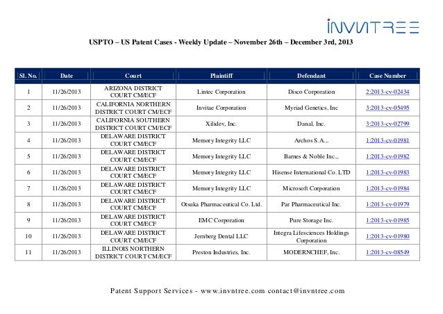 USPTO – US Patent Cases - Weekly Update – November 26th – December 3rd, 2013  Sl. No.  Date  1  11/26/2013  2  11/26/2013 ...