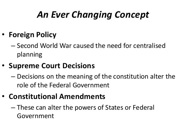 the federalism concept behind the constitution of the united states The constitution, which was approved by the delegates to the convention on september 17, 1787, established a republican form of government, explained the organization of that government, and outlined the federal system republican form of government the constitution established the united states as a republic in.