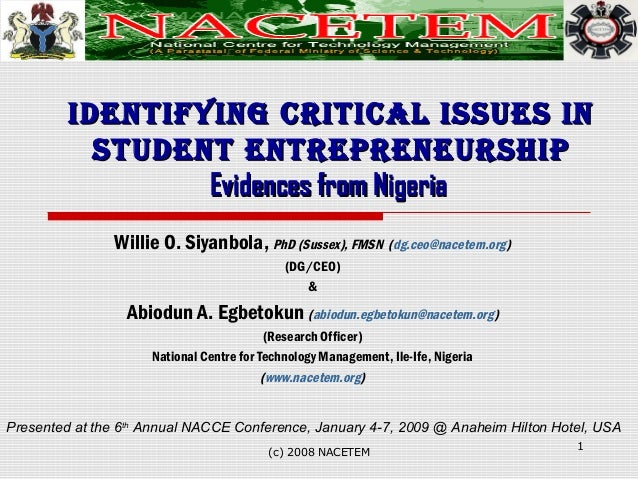 IdentIfyIng CrItICal Issues InIdentIfyIng CrItICal Issues In student entrepreneurshIpstudent entrepreneurshIp Evidences fr...