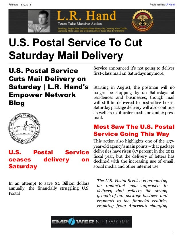 February 16th, 2013                                                        Published by: LRHandU.S. Postal Service To CutS...