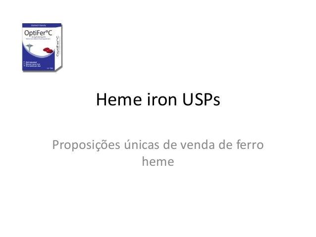 Heme iron USPs Proposições únicas de venda de ferro heme