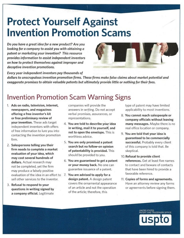 Protect Yourself Against Invention Promotion Scams [USPTO]