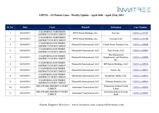 USPTO – US Patent Cases - Weekly Update – April 16th - April 23rd, 2013Sl. No.     Date                 Court             ...