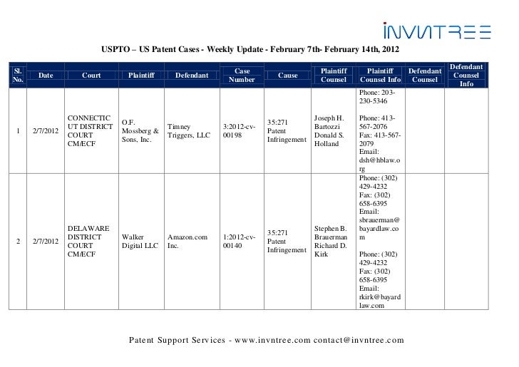 USPTO – US Patent Cases - Weekly Update - February 7th- February 14th, 2012                                               ...