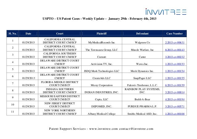 USPTO – US Patent Cases - Weekly Update – January 29th - February 4th, 2013Sl. No.     Date                 Court         ...