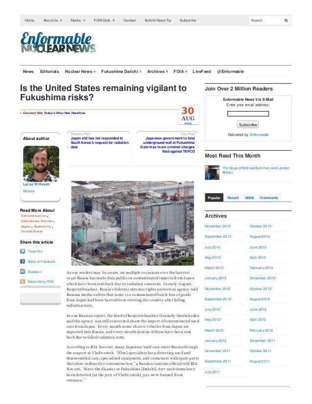 Home  News  About Us  Editorials  Media  Nuclear News  FOIA Data  Contact  Fukushima Daiichi  Submit News Tip  Archives  S...