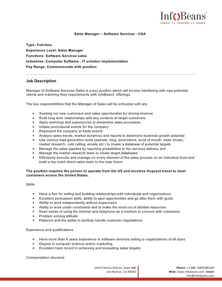 Us sales manager job description for Office junior job description template