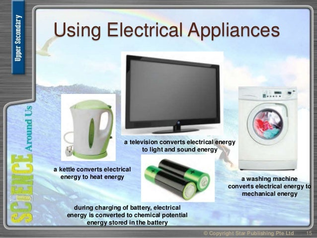 Using Electrical Appliances © Copyright Star Publishing Pte Ltd 15 a kettle converts electrical energy to heat energy a te...