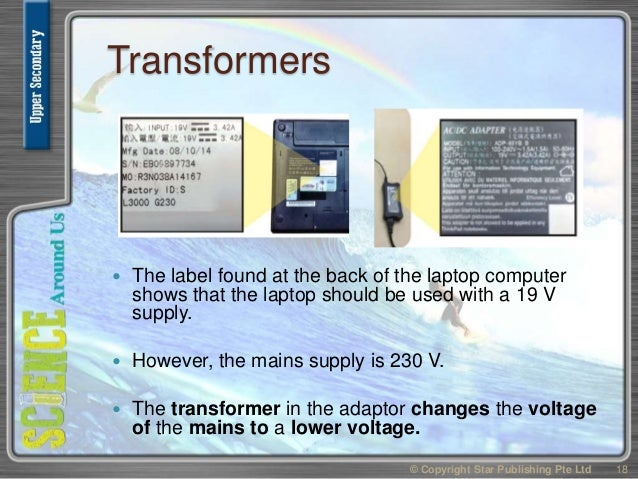 Transformers  The label found at the back of the laptop computer shows that the laptop should be used with a 19 V supply....