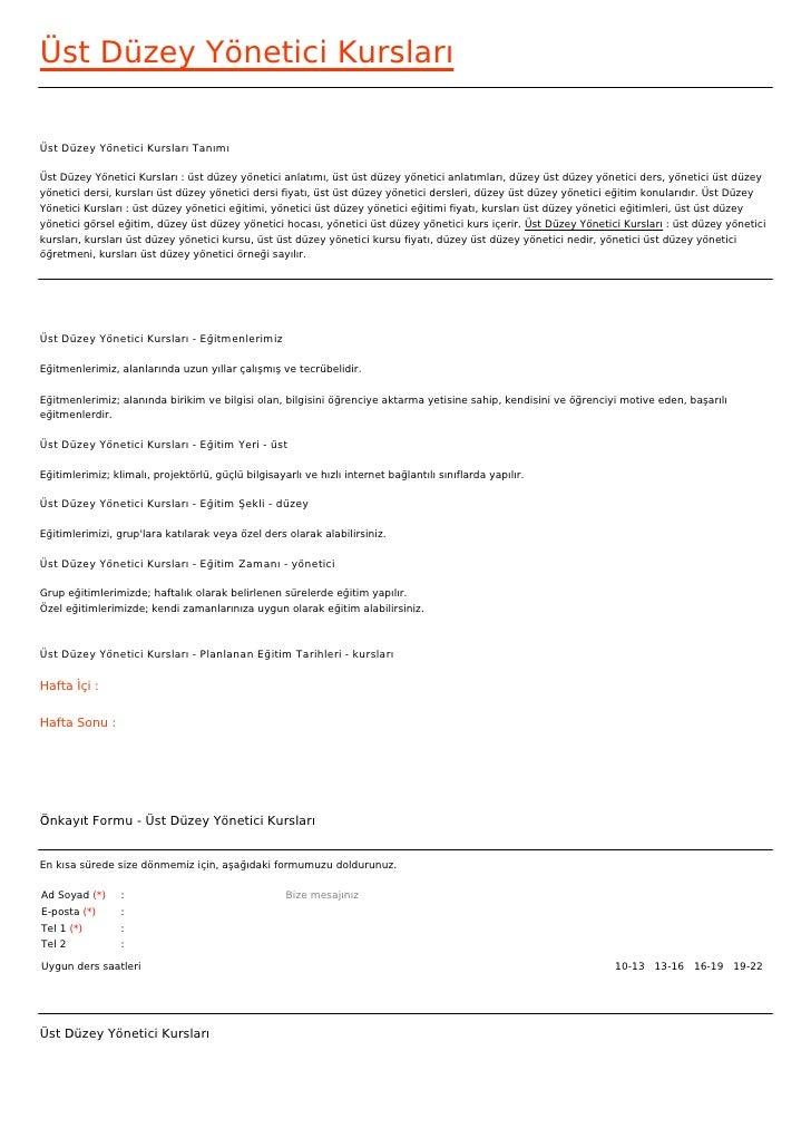 Üst Düzey Yönetici KurslarıÜst Düzey Yönetici Kursları TanımıÜst Düzey Yönetici Kursları : üst düzey yönetici anlatımı, üs...
