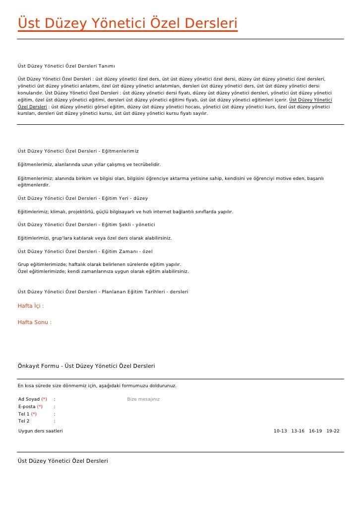 Üst Düzey Yönetici Özel DersleriÜst Düzey Yönetici Özel Dersleri TanımıÜst Düzey Yönetici Özel Dersleri : üst düzey yöneti...